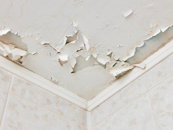 Peeling paint on a bathroom ceiling